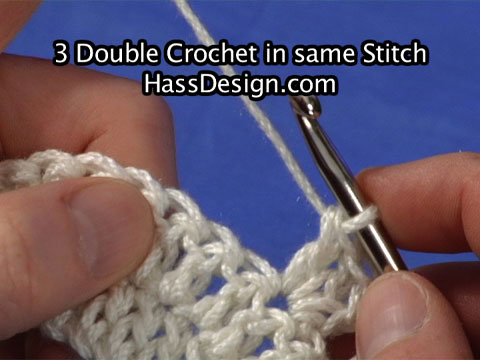 3 Double Crochet in same Stitch Crochet Video