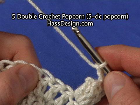 5 Double Crochet Popcorn (5-dc popcorn) - Stitch Video