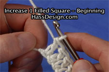 Crochet Video - Increase 1 Filled Square at the Beginning of the Row