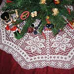 Blue and White Granny Square Christmas Tree Skirt Free Crochet Pattern
